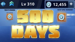 500 days of Fortnite - 12K vBucks, 32x dmg - Legendary and Mythics - Banners and more