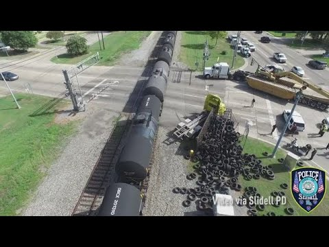 Aerial video of crash with train and tire truck in Slidell