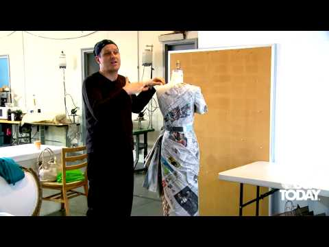 Isaac Mizrahi makes a couture dress out of papers