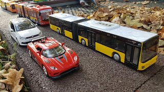 Driving toy Cars Bus - Dlan drives the Cars side by side NEW