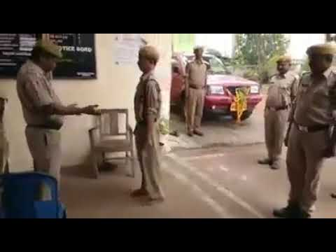 Indian state police drunker constable police hard to Salute To senior