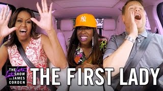 First Lady Michelle Obama Carpool Karaoke(James Corden's White House tour takes an unthinkable turn when First Lady Michelle Obama joins him for a drive around the grounds singing Stevie Wonder ..., 2016-07-21T06:24:01.000Z)