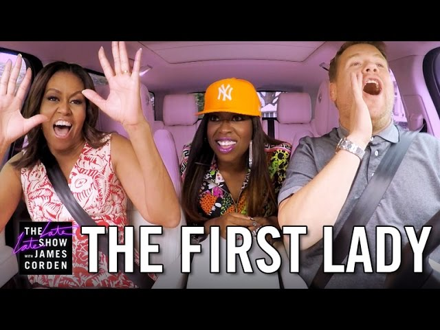First Lady Michelle Obama Sings Stevie & Raps With Missy  On Carpool Karaoke