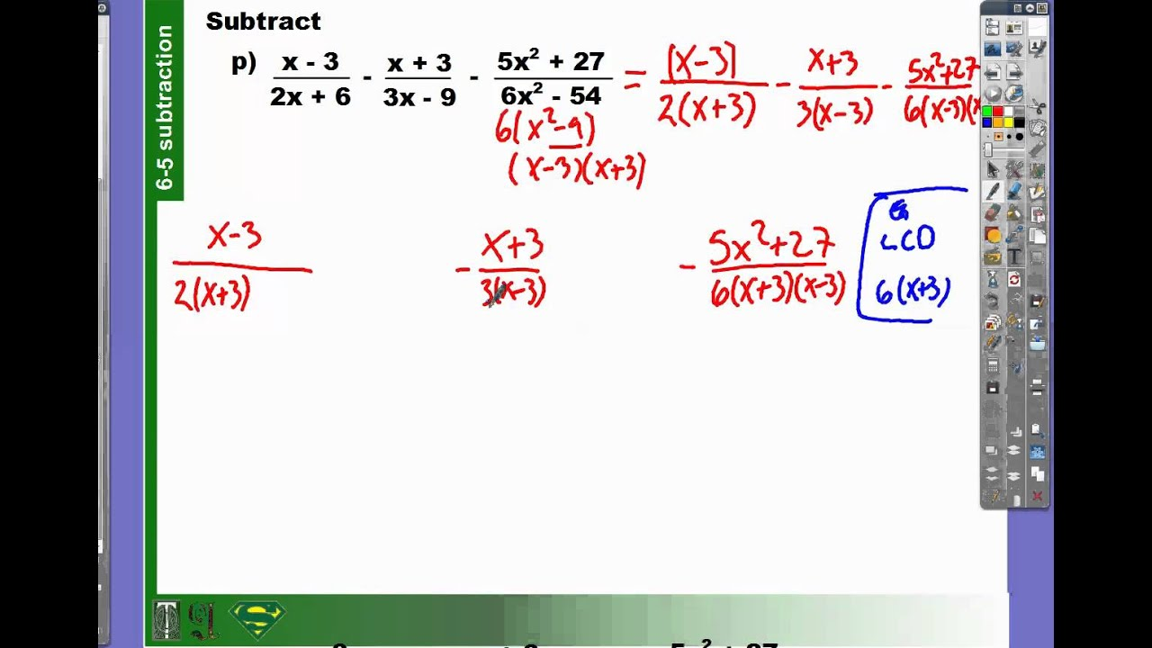 Addition And Subtraction Of Polynomials Fractions