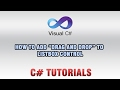 C# Tutorials - How to add Drag And Drop To ListBox