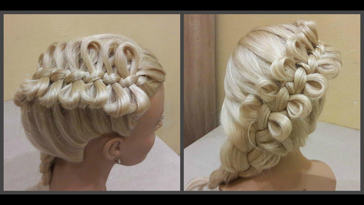 Причёска бантики из волос????Hairdress bows of hair????коса из бантиков.braid from the bows.