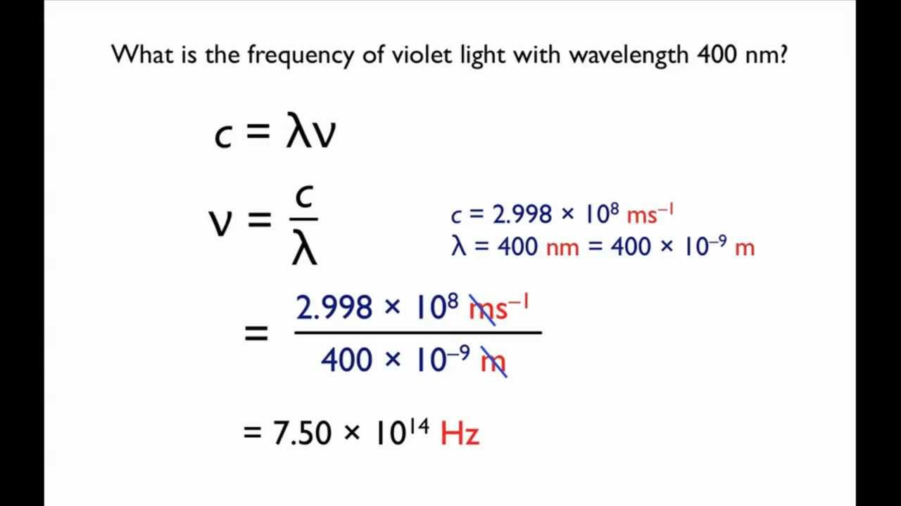 mathematical relationship between frequency and wavelength practice