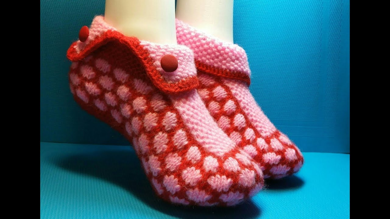 вязание спицами домашние тапочки 192 носки следки постила