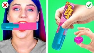 Funny Ways to SNEAK FOOD INTO MAKEUP! Sneak Snacks & Candy Anywhere by Crafty Panda