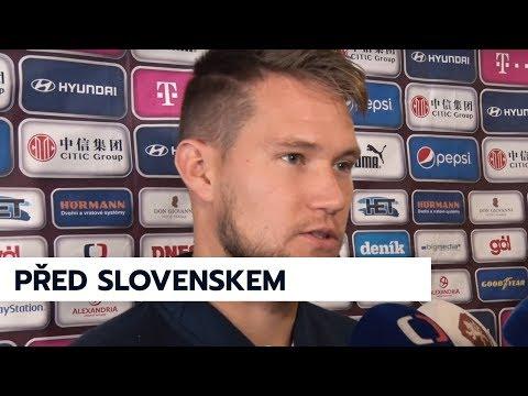 Tomáš Vaclík a Tomáš Souček před zápasem se Slovenskem