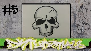 How to draw graffiti character #5 - Simple Skull step by step