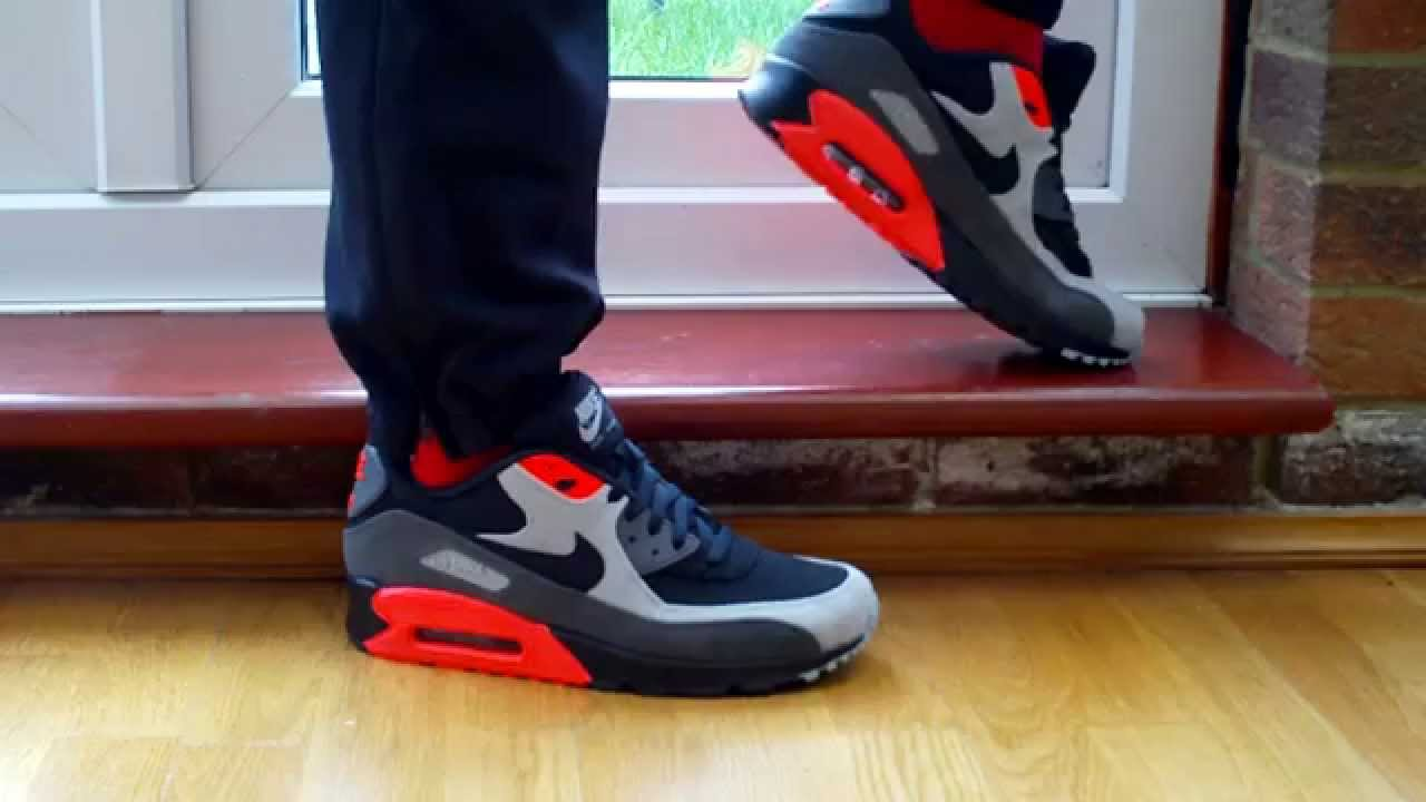 1da831302759 Nike Air Max 90 Leather Black Ash Total Crimson