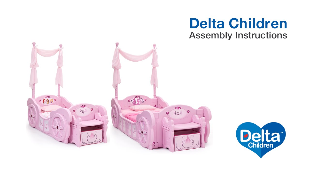 delta children disney princess carriage bed assembly video