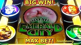 Wizard of Oz - Road to Emerald City - MAX BET! - BIG WIN! - Slot Machine Bonus