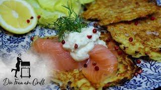 Kartoffelpuffer | Grundrezept | von der Plancha mit Räucherlachs | Die Frau am Grill