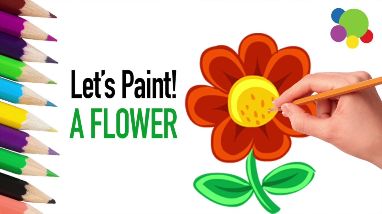 how to draw flowers coloring for kids learning for children