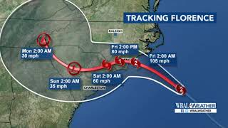 Hurricane Florence path, torrential rains , North Carolina, floods  South Carolina storm surge