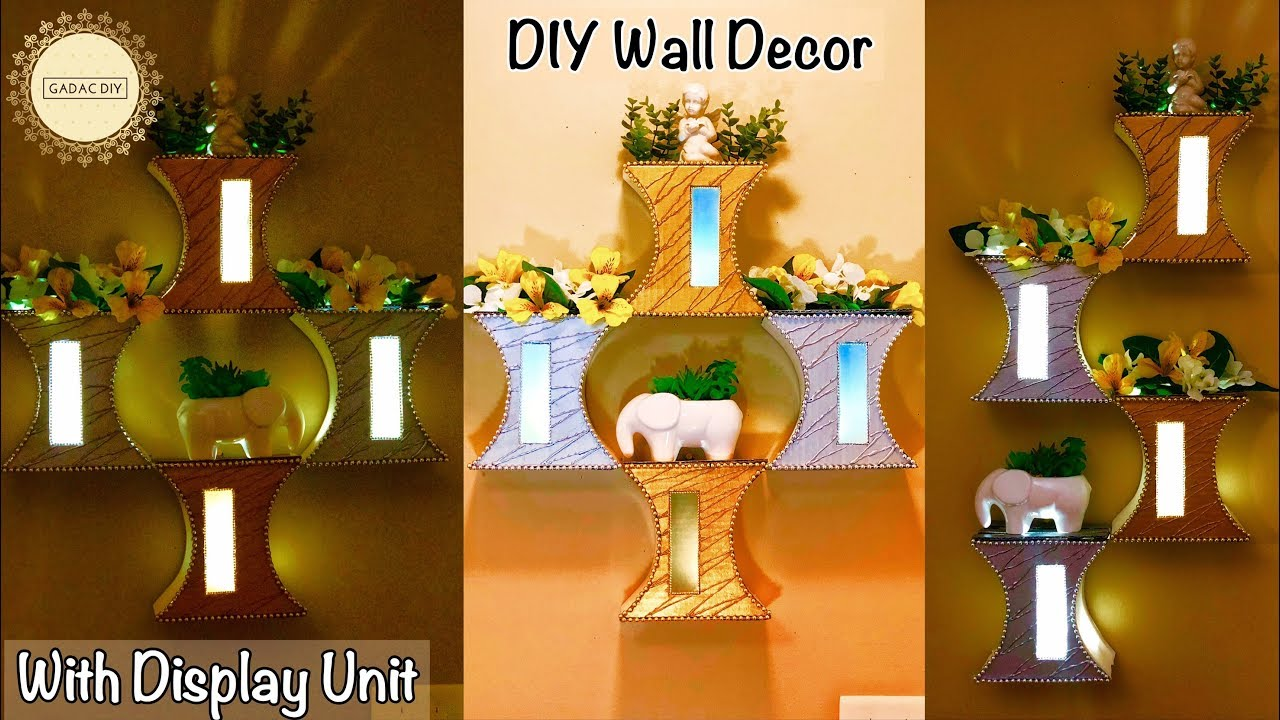 Wall decor with Display | Wall Hanging Craft Ideas | Wall hanging ...