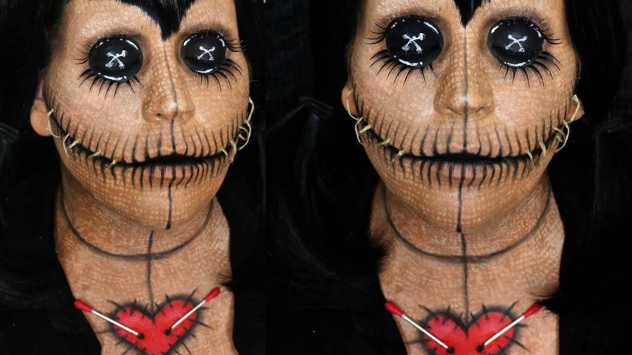 voo doo doll makeup tutorial: halloween day 15 - youtube