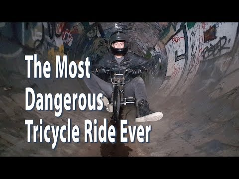 Most Dangerous Drift Trike Ride Ever! Big Wheel Tricycle downhill ride in the pitch Dark Sewer Drain