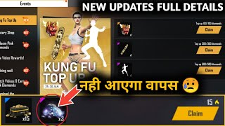 Free Fire New Top Up Event Full Details - Claim 3 Diamond Event Back - Kong Fu Emote - FF Details CG