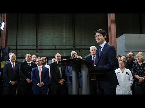 Prime Minister Trudeau delivers remarks at the Woodbridge Group plant