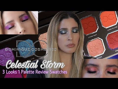 Dominique Cosmetics CELESTIAL STORM REALLY? 3 Looks 1 Eyeshadow Palette Review Swatches Comparisons thumbnail