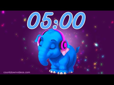 5 Minute Happy Music Timer For Kids  ♪ ♫ ♬[Dancing Elephant ?]