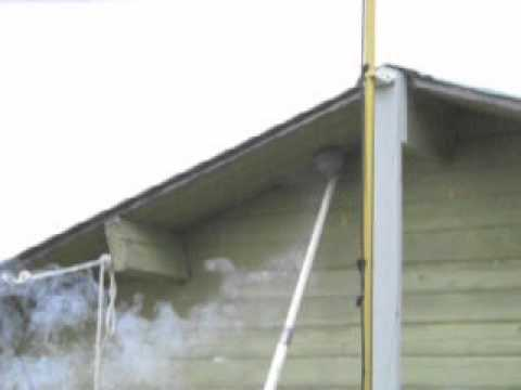 Using a seal bomb to remove a wasp nest