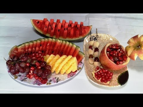 How to cut up Apple fruit design - Cutting up Watermelon and Pomegranate fruit