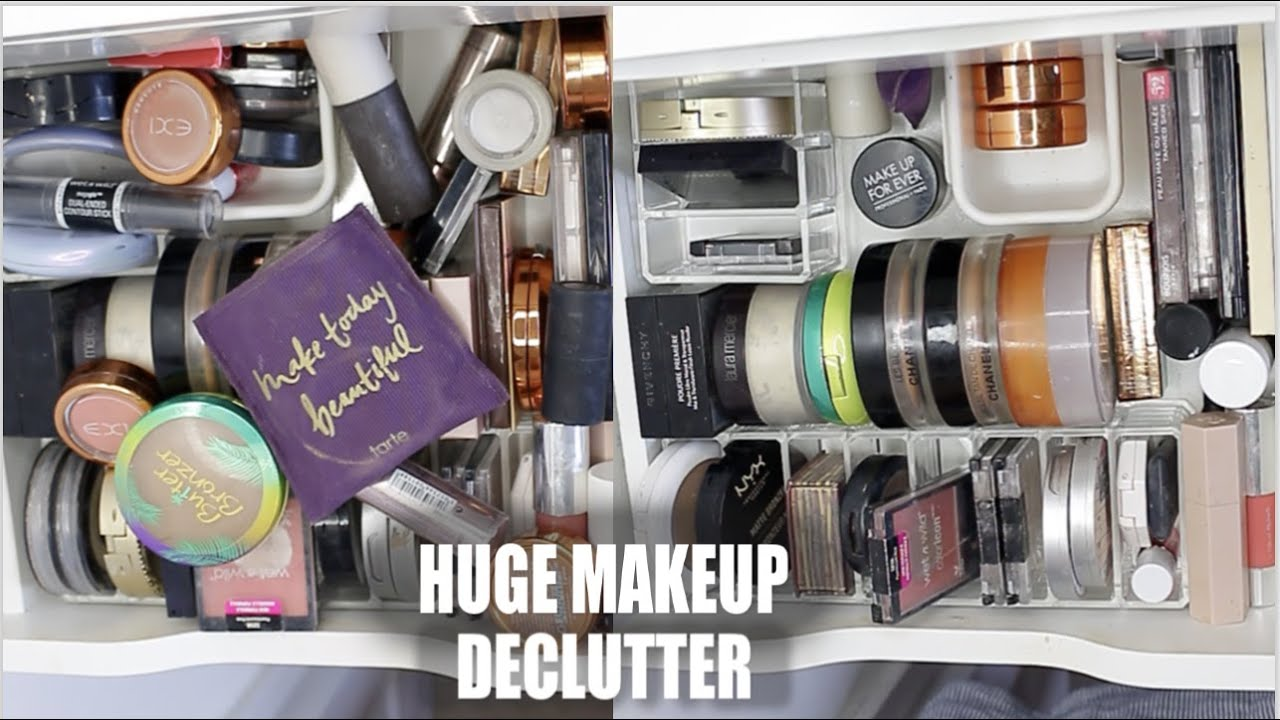 DECLUTTERING OVER 70+ BLUSHERS, BRONZERS, HIGHLIGHTERS, POWDERS! ... GROSS!