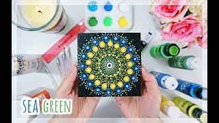 Easy Mandala Dot Painting For Beginners| SEA GREEN