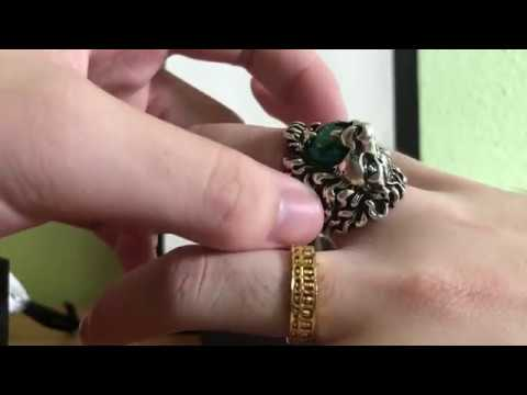 b3e06a0ef $560 GUCCI LION HEAD RING WITH CRYSTAL UNBOXING/REVIEW - YouTube