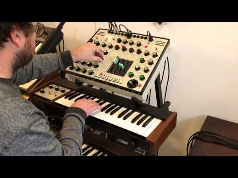 VINTAGE EMS SYNTHI A SYNTHESIZER WITH DK1 KEYBOARD CONTROLLER IN THE STUDIO