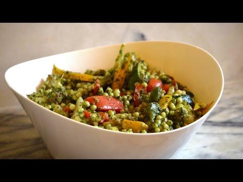 Israeli Couscous With Kale Pesto And Sauteed Veggies - Episode 74 - Reveena's Kitchen