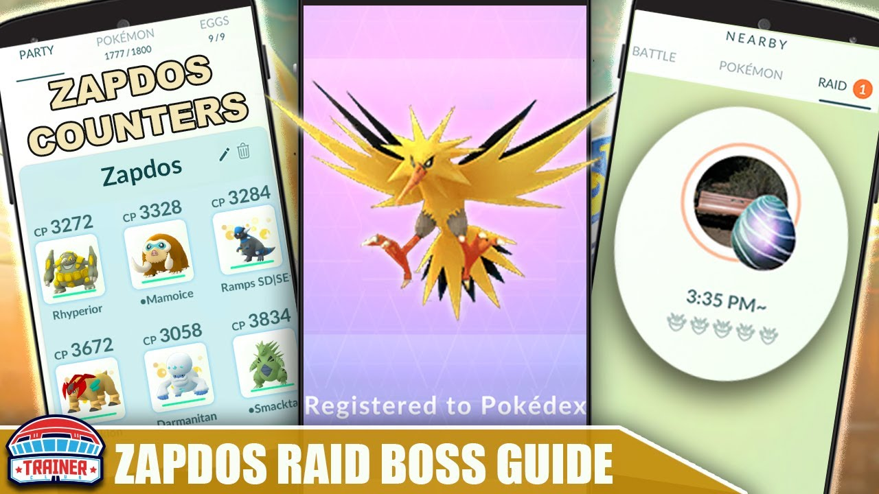 THE SHINY *ZAPDOS* COUNTER GUIDE! 100 IVs, MOVESET & WEAKNESS - ELECTRIC FLYING BOSS   Pokémon Go