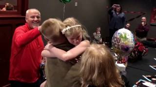 Military Army Brother Surprises Little Sister for Christmas.