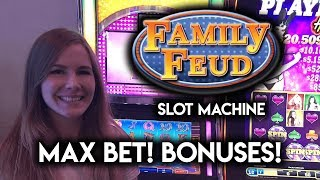 Sarah Plays Family Feud and Clears The Board! MAX BET! BONUS!