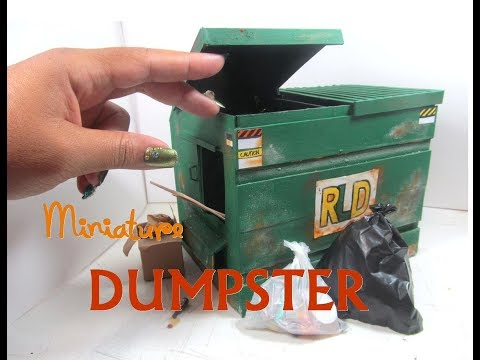 DIY Commercial Dumpster Trash Dollhouse Miniature Wooden Dollhouse Furniture
