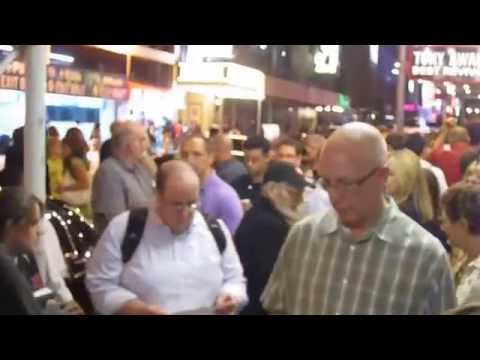 Larry Kramer outside the Normal Heart on Broadway