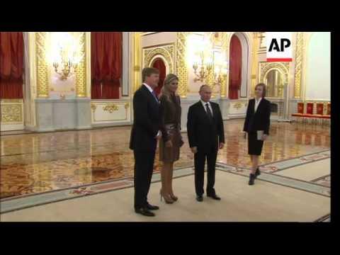Dutch King Willem-Alexander and his wife Queen Maxima meet Putin