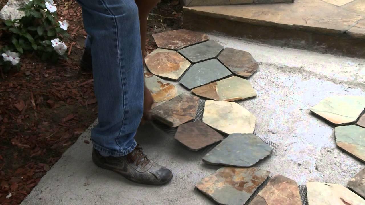 Mesh Mounted Flagstone Installation Stone Tile Liquidators