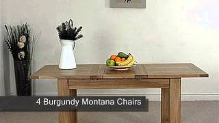 Hampton Solid Oak Extension Dining Table & 4 Burgundy Montana Leather Chairs
