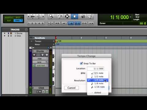 Setting Meter, Tempo, and Key Signature in Pro Tools