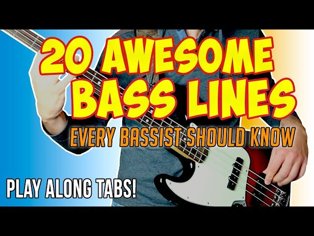 20 AMAZING BASS LINES every bassist should know [One take - Play Along Tabs]