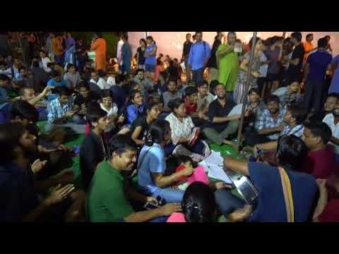 JNUSU Elections 2017-18 Vote Counting : Last Night Scene in front of SIS Old