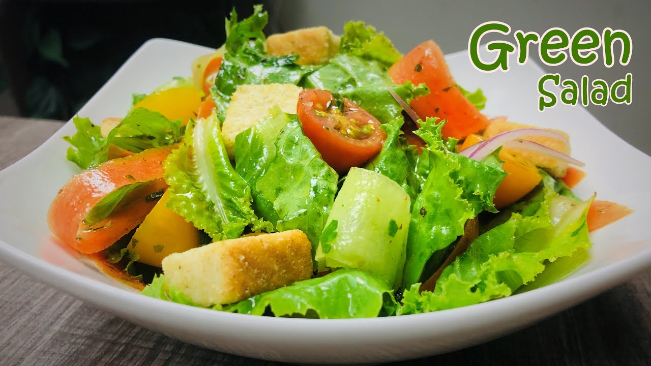 Green Salad Recipe Vegetable Salad Fresh Dressing Youtube