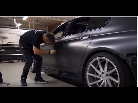 Car wrapping - BMW F10 535 satin dark grey + gloss black