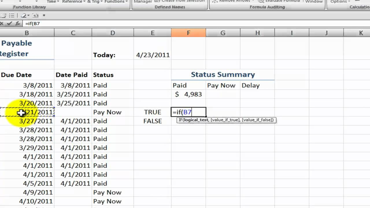 how to create an accounts payable status summary in excel youtube