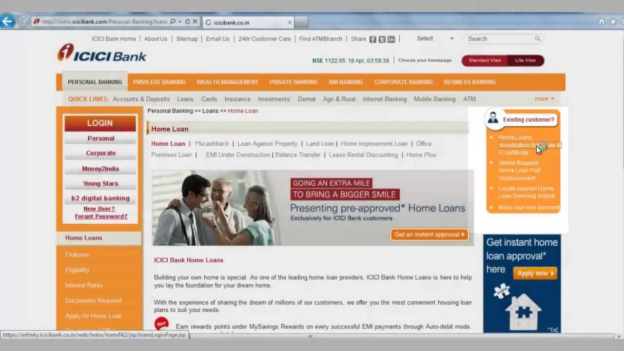 IN-How to generate IT Certificate Home Loan Statement and from ICICI Bank website - YouTube